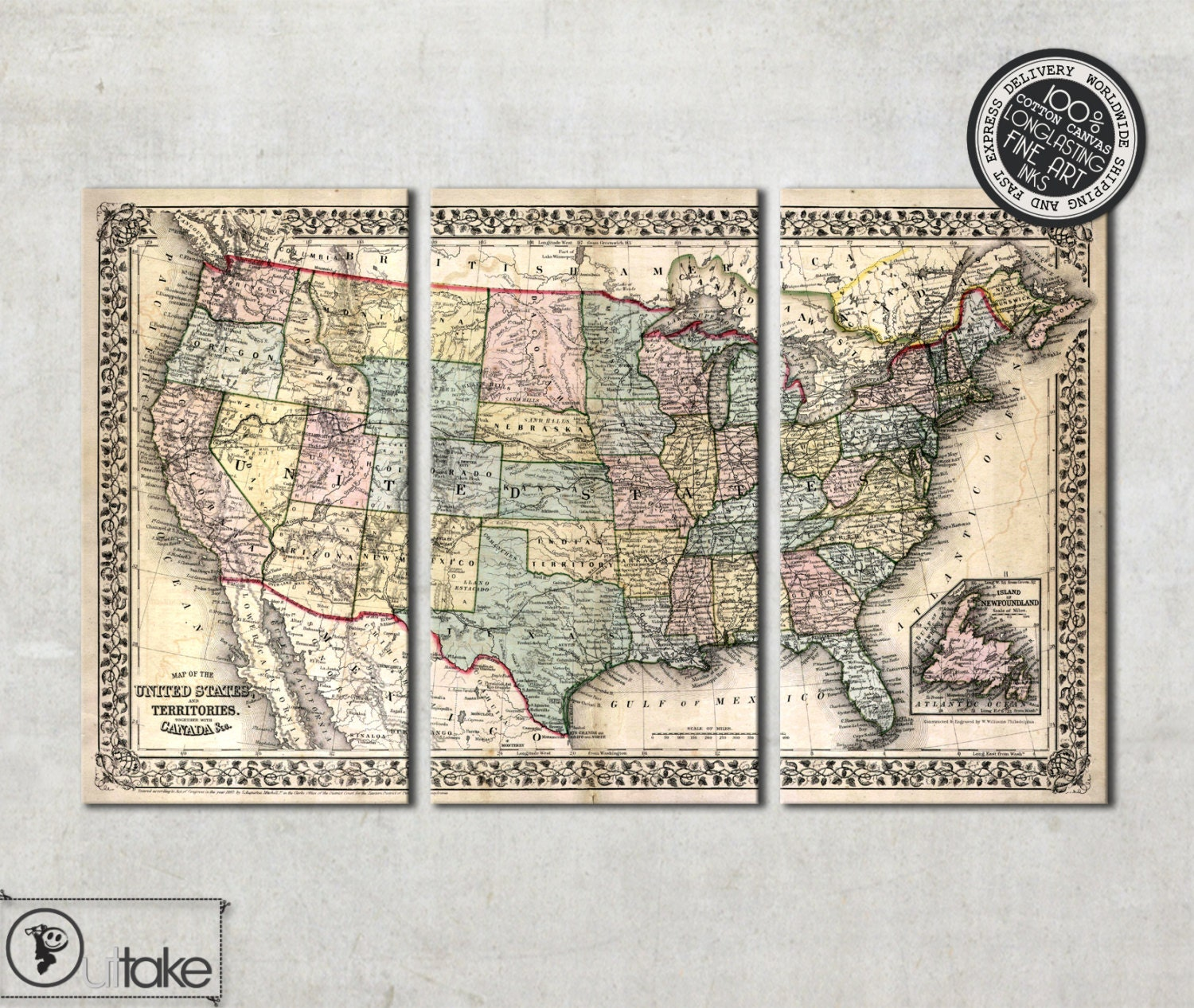 Vintage Wall Map Of United States Tryptich Canvas Art Ready