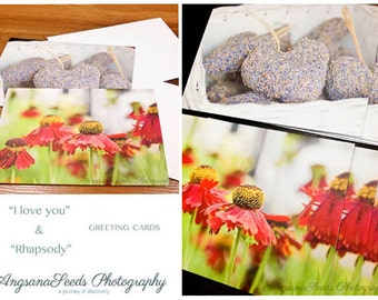 Photo Greeting Cards, GBK 2014 Golden Globe, Celebrity Gift Lounge, Note Cards, Heart, Red coneflowers, Lavender, Set of 6,