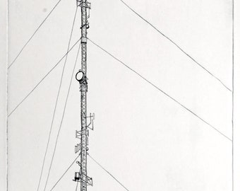 Mast Etching - Original Mast Print by William White - Drypoint - Original Hand Pulled Print - FREE SHIPPING