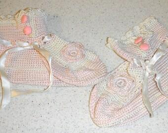 Beautiful knit or crochet sweet little girl shoes