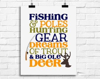 Fishing poles and hunting gear, baby boy decor, fishing hunting wall art, kids fishing decor, antlers art print, fishing pole art print