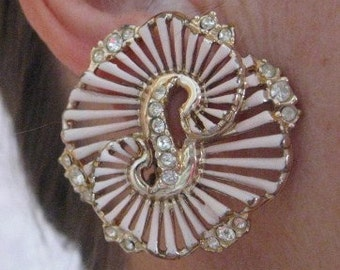 Pink Gold 'S' Large Clip Vintage Earrings 1980's or earlier clear rhinestones