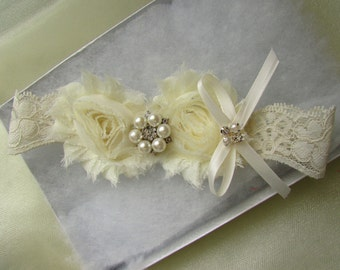 Wedding Toss Garter  - Ivory Flowers on a Ivory Lace with Pearl Rhinestone