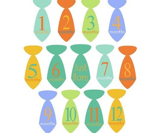 Baby Boy  Monthly  Ironon Tie  Transfers - Bright Mod Colors Plus Just Born No.105
