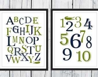 Alligator Alphabet  and Number Print Alligator Nursery - 2 Piece Set