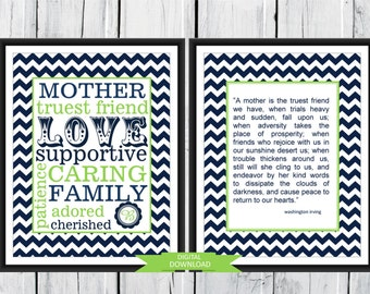 Mother's Day Gift - Mother Subway Word Art  - Two Print Gift Set - Digital Download-Custom 8x10 PDF