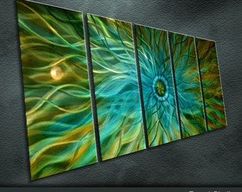 "Original Handmade Metal Wall Art Modern Abstract Painting Sculpture Indoor Outdoor Decor ""Energy"" by Ning"