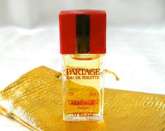 Vintage PARTAGE Faberge Perfume Eau de Toilette MINI 5 ml (.17 oz) Splash Rare, Full, Perfect In Gift Bag