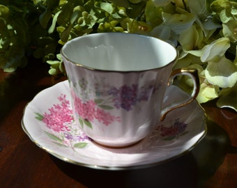 Old Royal Fine Bone China Tea Cup and Saucer, Pastel Pink, Spring Bouquet Motif, Gold Gilt, England