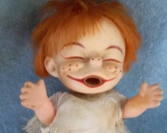 Original Brat Doll- 1960s , rare , ugly doll - as is , Vintage Cry Baby - Kewpie Style