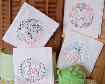 Flour Sack Embroidered Set of Vintage Harvest Designs