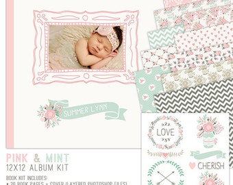 Baby Book Template, Photo Book Template, Book Template, Photo Album Template, Album Template, 12x12 Book Template for Girls - BK111