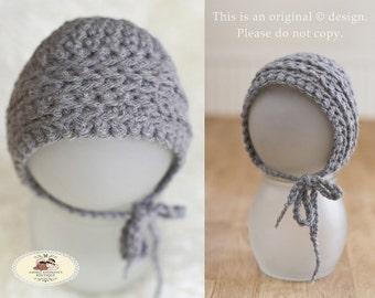 Newborn Baby Girls or Boys Bonnet Hat Grey / Gray Crochet Bonnet Hat with Ties. Newborn Baby Bonnet Hat Photography Prop. UK Seller.