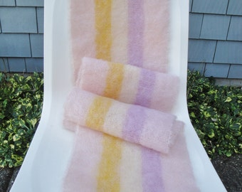 Vintage Mohair Scarf Extra Long Pastel Stripes