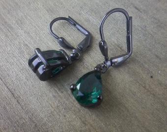Green Givenchy Dangle Earrings