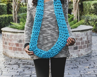 """Ready To Ship!! The Handmade """"Long World"""" Crochet Infinity Scarf. In selected colors."""