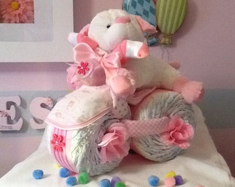 Tricycle Diaper Cake w/ Bear