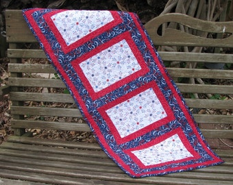 All American Quilted Table Runner - Table Topper -Red, White and Blue Stars and Streamers 1