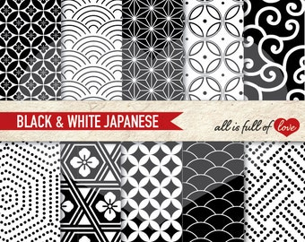 Japan digital papers, commercial use, scrapbook papers Black White background Chinese New Year Paper 12/15