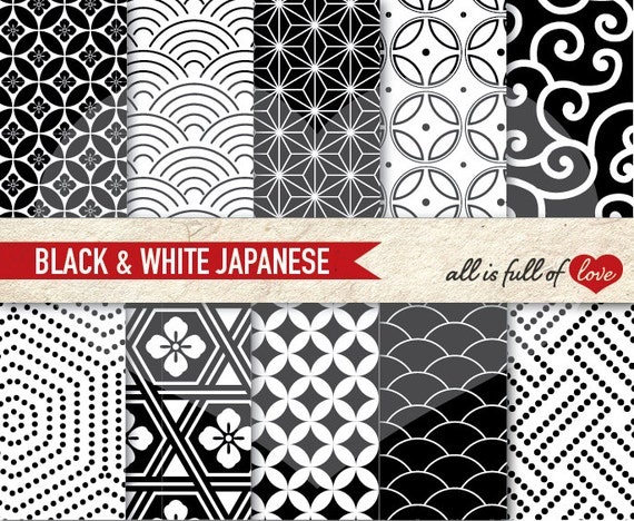 BLACK WHITE Digital Paper Pack ORIENTAL Background Patterns printable japanese graphics geometric patterns Chinese New Year Paper
