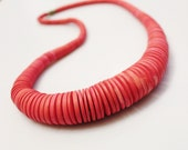 Bright Pink Wood Necklace, 1980's Jewelry