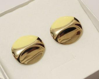 Yellow and Gold Stud Earrings, Enamel Jewelry, Retro Earrings, Gifts Under 10