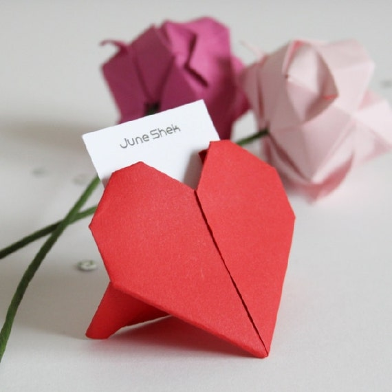 items similar to 20 x wedding origami heart place cards on