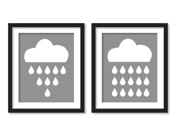 Rain Cloud Print, Cloud Nursery decor, Cloud print, Rain Cloud Art, Nursery decor, Cloud Art, Rain Cloud, WHITE cloud print, cloud art, gray