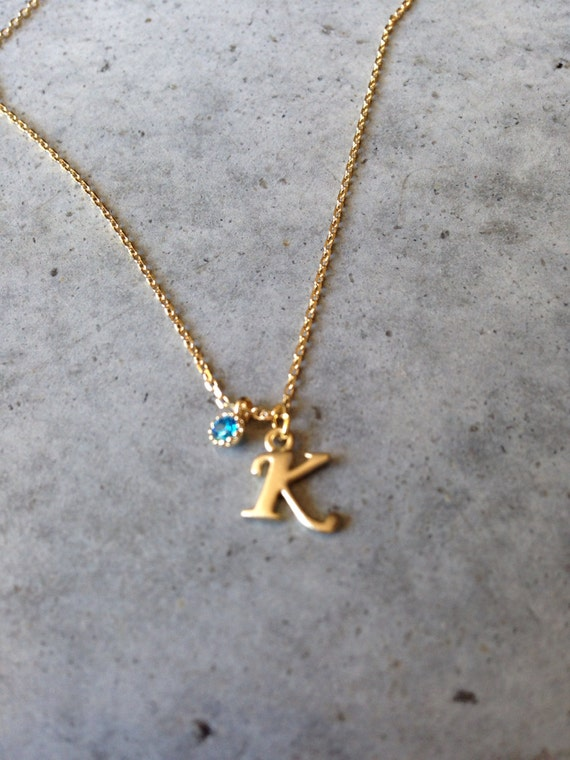 Alphabet letter and birthstone necklace, letter necklace, personalized necklace, personalized jewelry, initial jewelry