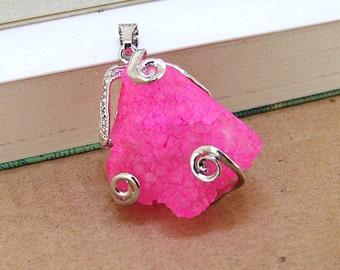 Brilliantly Pink Geodes Druzy Agate Crysal Penedant Gemstone Beads Jewelry Supplies