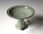 Pedestal Earring Bowl #4 in Lagoon glaze. AS IS, Discounted Flawed Second. View all photos and read listing for details