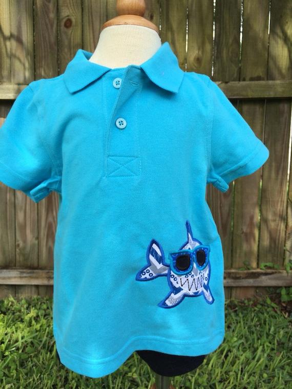 Polo shark shirt personalized birthday personalized for Personalized polo shirts for toddlers