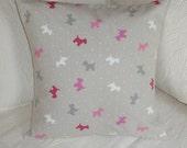 Scottie dog pillow cushion , 16 x 16 , natural cotton , taupe , beige colour