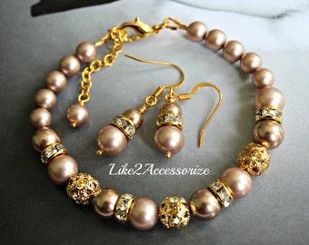 Bridesmaid Bracelet Earring Set. Champagne Gold Pearls Bracelet. Bridal Bracelet. Wedding Pearl Earring. Bridal Jewelry Set. Bridesmaid Gift