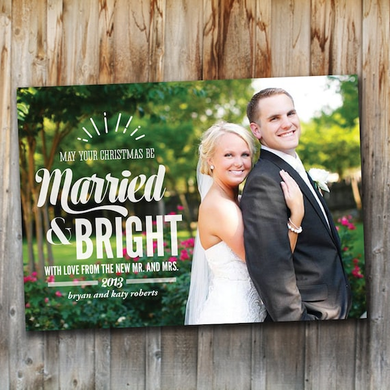 items similar to newlywed christmas card married and