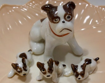 Set of Four Brown and White Dogs Made in Japan