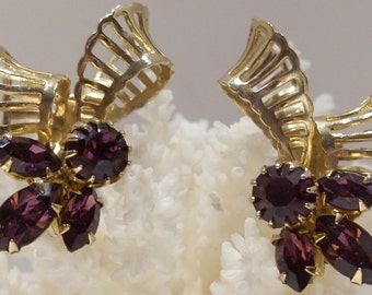 Kramer of New York Purple Rhinestone Earrings