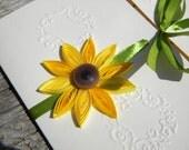 Sunflower wedding invitation - SAMPLE / Sunflower invitation and green ribbon