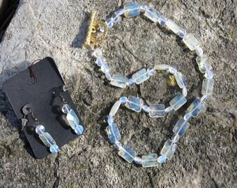 Lemon Quartz necklace and Pierced Earrings