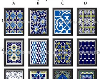 Moroccan Digital Prints Navy Blue Green White Wall Art - Choose any  (1) -11x14 Prints - (UNFRAMED) Custom Colors and Sizes Available