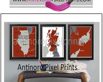 Maps of Your Favorite Places in your Colors Digital Illustration Wall Art Print -Set of (3) - 11x14 Print (UNFRAMED)