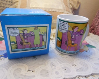 Kate Gawf Mug and Box You mean You Do Not Get Paid For This  1983, Vintage Mugs, Gag Gift, Mug, Vintage Kitchen, :)s*
