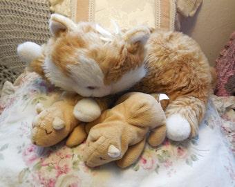 Kitten Meowing Kitties Set By Common Wealth 1991,Mommy/Baby Kittens Set,Vintage Stuffed Toys,Vintage Stuffed Animals,Toys,Vintage Toys: )s