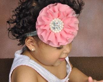 Pink chiffon headband with Rhinestone , baby headband, adult headband, infant headband, child headband