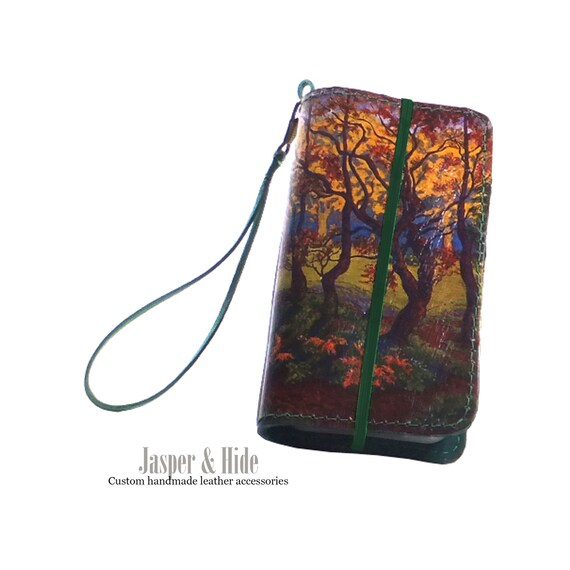 Printed Leather smartphone wallet- custom made for any phone or I pod