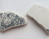 Sea pottery: Two scottish sea pottery shards with a cream and black pattern