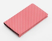 Womens card wallet, business card holder, small wallet, little card case - coral red and white polka dots