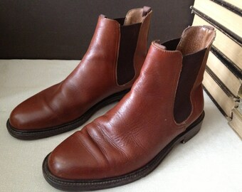 Vtg Italy // Cognac Brown Leather Chelsea Ankle Boots // Size 7.5 UK Mens