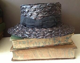 Vintage French // Black Straw Garden Hat // Black Ribbon