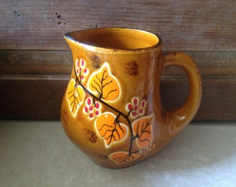 1960s French Pottery Jug, Signed Bresse, Small Handpainted Pitcher, Signed Pottery Earthenware
